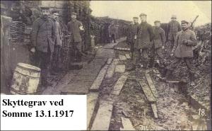 Skyttegrav ved Somme 1917